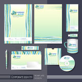 Corporate identity template with green and blue elements. Royalty Free Stock Image