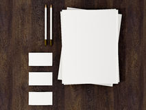 Corporate Identity Template mockup on vintage wooden substrate. High resolution Royalty Free Stock Photo