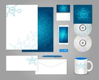 Corporate identity template with molecules Stock Image
