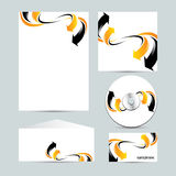 Corporate identity template. Orange and black arrow design on  background Royalty Free Stock Images