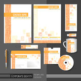 Corporate identity template with orange mesh elements. Stock Image