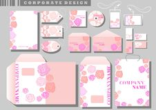 Corporate Identity template pink roses. White background Royalty Free Stock Photography
