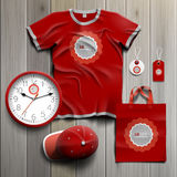Corporate identity template and promotional gifts. Red classic promotional souvenirs design for corporate identity with round wavy element. Stationery set Stock Image