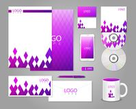 Corporate identity template with purple rhombuses Royalty Free Stock Image