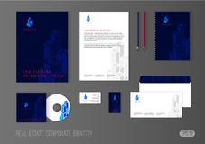 Corporate identity template for real estate company. Modern stationery template design with isometric skyscrapers. Brochure cover, letterhead, envelope Royalty Free Stock Photo