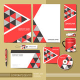 Corporate identity template with  red and black triangle element Stock Photography