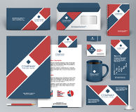 Corporate identity template with red tape on blue backdrop. Professional universal branding design kit  with red tape on blue backdrop for real estate, cafe Royalty Free Stock Image