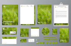 Sustainable energy branding stationery mock up set. Corporate identity template set. Business stationery mock-up. Branding design. Green geometric stationery vector illustration