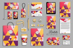 Corporate identity template set. Business stationery mock-up with logo. Branding design. Colorful geometric background Stock Image