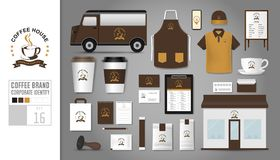 Corporate identity template Set 16. Logo concept for coffee shop. Cafe, restaurant. Realistic mock up template set of store, polo shirt, apron, cap, cup, menu Stock Photo