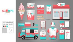 Corporate identity template Set 2. Logo concept for ice cream sh Stock Photography