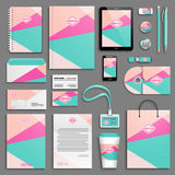 Corporate identity template set. Trendy colorful Corporate identity template set. Business stationery mock-up with logo. Branding design. Colorful geometric vector illustration
