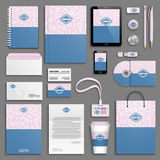 Corporate identity template set. Trendy memphis colorful Corporate identity template set. Business stationery mock-up with logo. Branding design. Colorful royalty free illustration