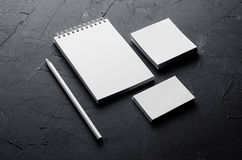 Corporate identity template, stationery on dark grey concrete texture. Mock up for branding, graphic designers presentations and p. Corporate identity template stock image