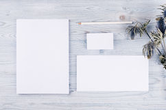Corporate identity template, stationery with dry flower on soft light blue wooden board. Mock up for branding, graphic designers p. Corporate identity template stock photo