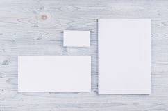 Corporate identity template, stationery on soft light blue wooden board. Mock up for branding, graphic designers presentations and. Corporate identity template Stock Image