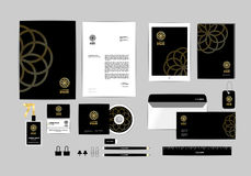 Corporate identity template for your business includes CD Cover, Business Card, folder, ruler, Envelope and Letter Head Designs U Royalty Free Stock Photos