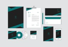 Corporate identity template for your business includes CD Cover, Business Card, folder, Envelope and Letter Head Designs No.14. Corporate identity template for stock illustration