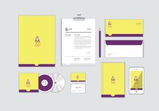 Corporate identity template for your business includes CD Cover, Business Card, folder, Envelope and Letter Head Designs No.15. Corporate identity template for stock illustration