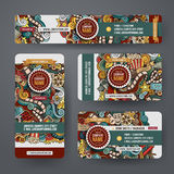 Corporate Identity templates set with doodles cinema theme. Corporate Identity vector templates set design with doodles hand drawn cinema theme. Colorful banner Royalty Free Stock Photography