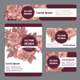 Corporate Identity templates set with doodles floral theme Royalty Free Stock Photo