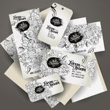 Corporate Identity templates set with doodles Stock Images