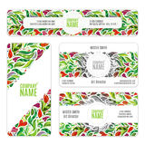Corporate Identity  templates set with flowers and leaves in zentangle doodle style Royalty Free Stock Images