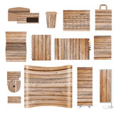 Corporate identity templates with texture of wood background. Blank name card, envelope, calendar, cover notebook paper, folded paper, exhibition banners Royalty Free Stock Image