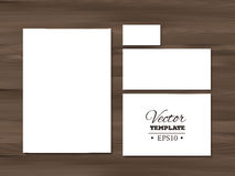 Corporate identity templates on a wooden Stock Images