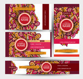 Corporate Identity vector templates set with colorful doodles. Hand Drawn Design Royalty Free Stock Image