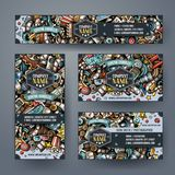 Corporate Identity vector templates set design with doodles hand drawn Cinema theme. Colorful banner, id cards, flayer design. Templates set Royalty Free Stock Image
