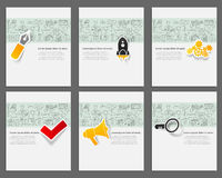 Corporate identity vector templates set with. Doodles business theme. Target marketing concept Royalty Free Stock Photos