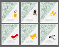 Corporate identity vector templates set with doodles business theme. Target marketing concept Royalty Free Stock Image