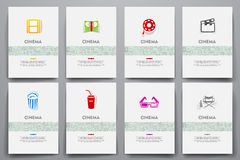 Corporate identity vector templates set with doodles cinema theme Royalty Free Stock Photos