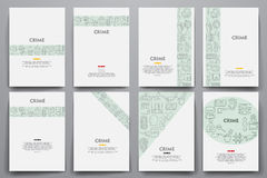 Corporate identity vector templates set with doodles crime theme Stock Photography
