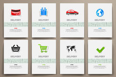 Corporate identity vector templates set with doodles delivery theme Stock Photography