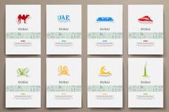 Corporate identity vector templates set with doodles Dubai theme Stock Photo