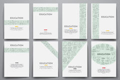 Corporate identity vector templates set with doodles education theme Royalty Free Stock Image