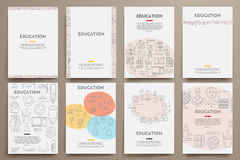 Corporate identity vector templates set with doodles education theme Stock Photos