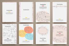 Corporate identity vector templates set with doodles fashion theme Royalty Free Stock Photos