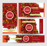 Corporate Identity vector templates set with doodles floral theme. Hand Drawn Design Royalty Free Stock Images