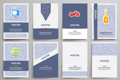Corporate identity vector templates set with doodles hipster theme Royalty Free Stock Photography
