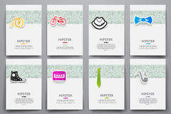 Corporate identity vector templates set with doodles hipster theme Stock Images