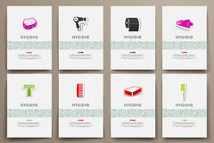 Corporate identity vector templates set with doodles hygiene theme Stock Image