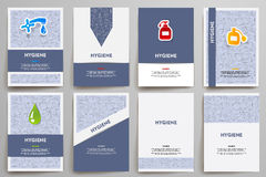 Corporate identity vector templates set with doodles hygiene theme Royalty Free Stock Image