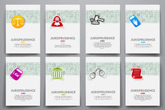Corporate identity vector templates set with doodles jurisprudence theme Stock Photos