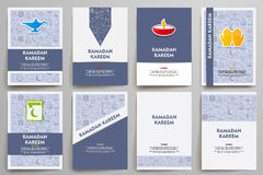 Corporate identity vector templates set with doodles ramadan theme Stock Photo
