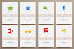 Corporate identity vector templates set with doodles sea theme Stock Photo