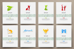 Corporate identity vector templates set with doodles Spain theme Royalty Free Stock Photography