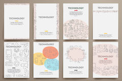 Corporate identity vector templates set with. Doodles technology theme. Target marketing concept Royalty Free Stock Image